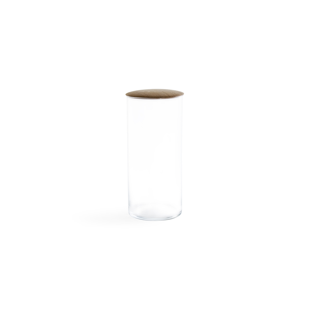 Large Glass Storage Container with Oak Lid