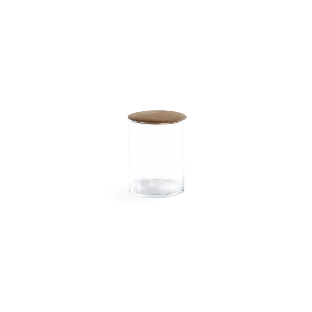 Small Glass Storage Container with Oak Lid