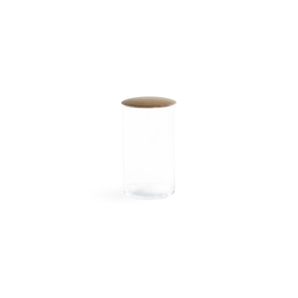 Medium Glass Storage Container with Oak Lid